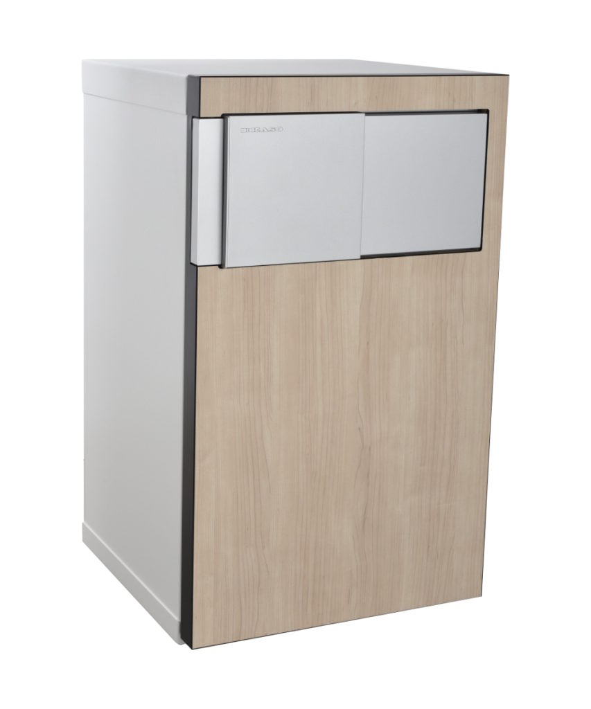Kaso Safe E-509 with maple panel and lock cover closed